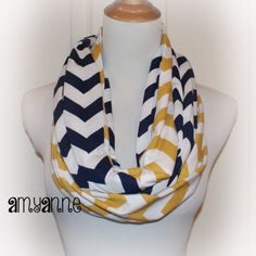 Ready to Ship Navy Blue and Mustard Gold Yellow Jersey Knit 2 Pair School Team Colors Chevron Infinity Scarf Scarves Amy Anne on Etsy, $30.00