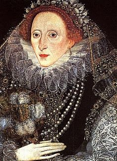 1585 Queen Elizabeth I 1533-1603 with a feather fan by an unknown artist.