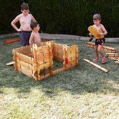 Juguete natural Waldorf - Montessori: Builder boards. Trabajo en equipo.