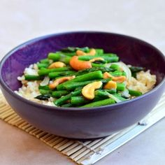 crisp-tender asparagus, crunchy cashews and nutty brown rice...healthy and delicious