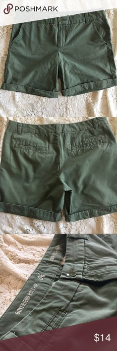 GAP roll-up shorts GAP khakis boyfriend roll-up short. Olive green. Can be worn rolled up (7 in inseam) or unrolled as Bermuda shorts (9 in inseam). Like new--worn a handful of times. GAP Shorts