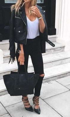 #fall #fashion ·  Leather Jacket + Ripped Jeans + Leather Tote