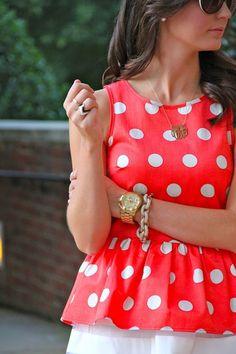 Orange/coral polka dots blouse