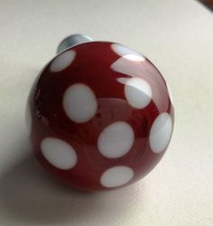 One Handmade Glass Lampwork Valentine Red White Spotty Door Draw Knob £7.10