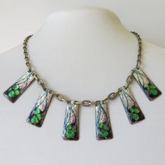 Vintage 1950's - 60's Modernist Enamel Foiled Necklace $50+
