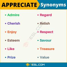 This lesson provides a list of common synonyms for appreciate with useful example sentences and ESL infographics. Learning those words to us Essay Writing Skills, English Writing Skills, Book Writing Tips, Writing Words, Good Vocabulary, English Vocabulary Words, Learn English Words, Teaching English Grammar, Teaching Spanish