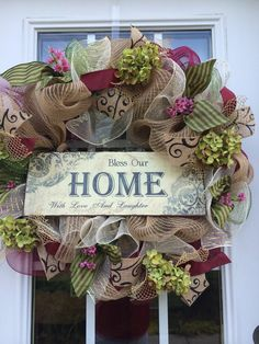 Fall deco mesh wreath, maroon, sage green and burlap ribbon, hydrangeas bless our home with love and laughter sign