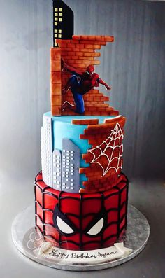 Spiderman Birthday Cake, 1st Birthday Cakes, Superhero Cake, Cupcakes, Cupcake Cakes, Fruit Cake Watermelon, Cool Cake Designs, Character Cakes, Cakes For Boys