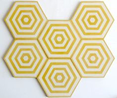 Hexagon yellow and white tiles