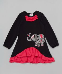 Black Elephant Ruffle Dress - Infant, Toddler & Girls