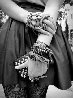 Punk. Jewelery. Studs. Chains. Lace. Style. Skirt. Black And White. Snake. Beads. Fashion. Wallet.