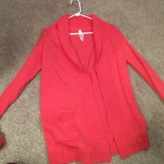 Orange cardigan sweater Thick, warm, soft cardigan sweater from Aeropostale. Never worn. Aeropostale Sweaters Cardigans