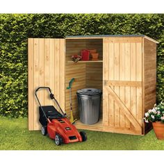 Outdoor Wood Storage Shed - Diamond Resource in Goffstown NH Outdoor Tools, Outdoor Tool Storage, Garden Tool Storage, Outdoor Sheds, Wooden Storage Sheds, Storage Shed Kits, Backyard Storage Sheds, Wooden Sheds, Storage Ideas