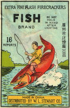 Fish C1 16's firecracker pack label by Mr Brick Label
