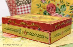 Vintage Home - Pretty Venetian Floral Painted Candle Box.