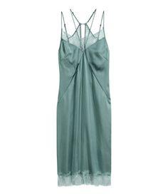 Slip-in-Kleid aus Satin | Mattgrün | Damen | H&M DE