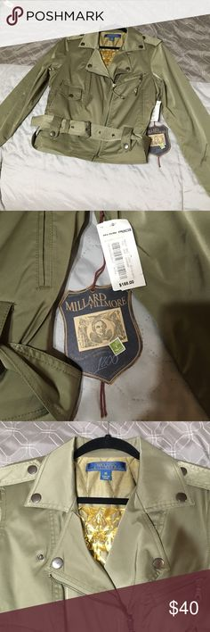 Millard Fillmore Jacket Olive green with a satin/shiny sheen to it super cute for fall and winter outer part is made of 65% cotton 32% nylon 3% spandex  the belt is removable Millard Fillmore  Jackets & Coats