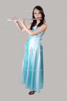 Chinese girl in dress with flute. Blue Evening Dresses, Prom Dresses, Formal Dresses, Lightbox, Gray Background, Photo Library, Flute, Asian Woman, Cart