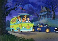 Batmobile along side the Mystery Machine