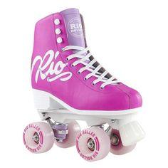 Rio Roller Script Roller Skates! Pink and Purple Roller Skates at Lucky Skates.