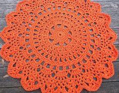 Orange Patio Porch Cord Crochet Rug in 35 por byCamilleDesigns