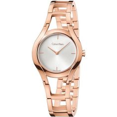 Calvin Klein  Stainless Steel Watch, K6R23626 ($320) ❤ liked on Polyvore featuring jewelry, watches, rose gold, charm jewelry, calvin klein watches, rose gold tone watches, charm watches and rose jewelry