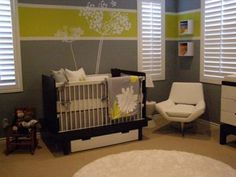 This is my favorite option for the green room.  I love the green stripe w/ the wall decal.