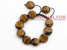 Brown Series 17mm Flat Round Tiger Eye Knotted Adjustable Drawstring Bracelet.More information please visit:http://www aypearl.com