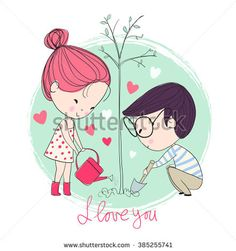 Find Boy Girl Love Cards Theme Spring stock images in HD and millions of other royalty-free stock photos, illustrations and vectors in the Shutterstock collection. Thousands of new, high-quality pictures added every day. Valentines Illustration, Illustration Art, Romantic Themes, Love Doodles, Cute Love Cartoons, Cartoon Sketches, Couple Cartoon, Art Graphique, Love Cards