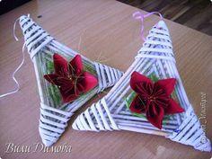 Декор предметов Рождество Бумагопластика Плетение Звезды Бумага Бумага газетная фото 5