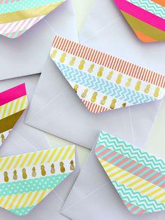 Decorate the flap of a boring white envelope with washi tape - washi decorating - card making - papercrating - washi ideas