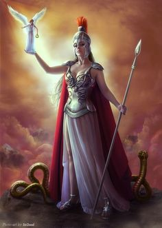 Athena: greek goddess of war and wisdom, daughter of Zeus. She is said to have been born from Zeus' head, in full battle gear, and emitting a warcry.