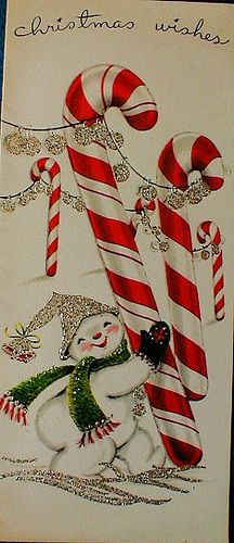 Pinner sd: snowman and candycanes, reminds me of a favorite Christmas decoration my mother put out every year!