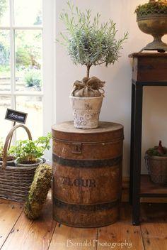 burlap, side tables, potted plants, tree, decorating ideas, topiari, crate, barrel, primitive homes