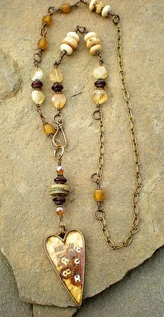 Rust and gold sari heart necklace by Maggie Zee  www.maggiezee.blogspot.com