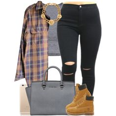 Random fall set cause this summer not even hot.. Shoutout to @sipping-gold tho! ❤️ by livelifefreelyy on Polyvore featuring Timberland, MICHAEL Michael Kors, Versace, women's clothing, women's fashion, women, female, woman, misses and juniors