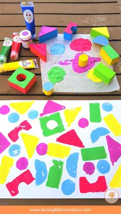 Painting with blocks is a fun process art activity for kids. Best of all, when it's finished you've got a no prep shape sorting activity all ready to go. Check out the 4 different kids of pictures your toddlers and preschoolers can make using blocks. Process Art Preschool, Preschool Painting, Preschool Art Projects, Preschool Arts And Crafts, Toddler Art Projects, Painting For Kids, Art For Kids, Painting With Toddlers, Children Art Projects