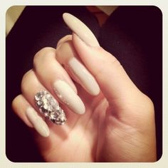 Nude rounded& Accent sparkle on roids nail*