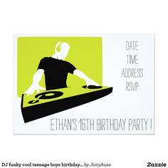 DJ funky cool teenage boys birthday party 5x7 Paper Invitation Card
