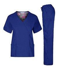Wish | Nursing Scrub Set Medical Women Stylish Tops Pants XS-2XL