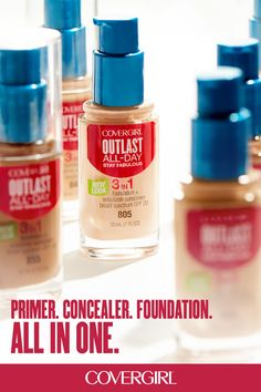 COVERGIRL's Outlast All-Day Foundation has a formula that fuses primer, concealer and foundation! It's your go-to foundation for a flawless look that last all day. Beauty Secrets, Diy Beauty, Beauty Skin, Health And Beauty, Beauty Makeup, Beauty Hacks, Beauty Tips, Beauty Buy, Beauty Essentials