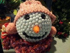 Bowling ball snowman