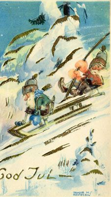 Gnome fathers are consigned to oblivion for no- sled-brakes but gusually make repairs in remorse. Vintage Greeting Cards, Vintage Christmas Cards, Christmas Art, Norwegian Christmas, Scandinavian Christmas, Swedish Christmas Traditions, Yule, Elves, Gnomes