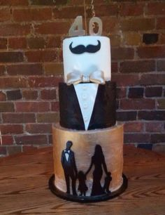 40th birthday cake, tuxedo cake, toronto cakes, black white gold cake, mens birthday cakes, mustache cake, bowtie cake