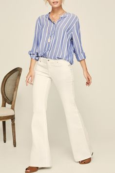 Beautiful striped button down blouse. Button Down Shirt by Black Tape. Clothing - Tops - Blouses & Shirts Canada