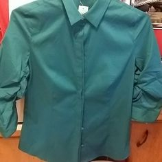 Ann Taylor  Blouse Ann Taylor Blouse hidden buttons ruffle upon inside of sleeve  an emerald color78% cotton 19%nylon 3% spandex has a little stretch Ann Taylor Tops Blouses