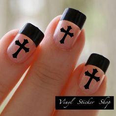 Love these too! :-) Etsy listing at https://www.etsy.com/listing/174093672/christian-cross-fingernail-art-sticker-1