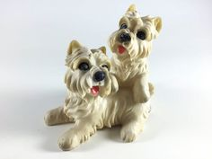 Vintage Big Eye Dog Statue Retro Figurine Kitsch Home Decor Scottie Terrier Puppy - pinned by pin4etsy.com