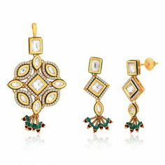 """Amazon.in: Buy Peora Valentine 18 Karat Gold Plated Kundan """"Akshi"""" Pendant Earrings Set with Free Chain (PVS114) at Low Prices in India 