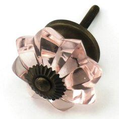 Pink Glass Cabinet Knobs Antique Pulls Kitchen Drawer Handles Hardware T40 SET//2